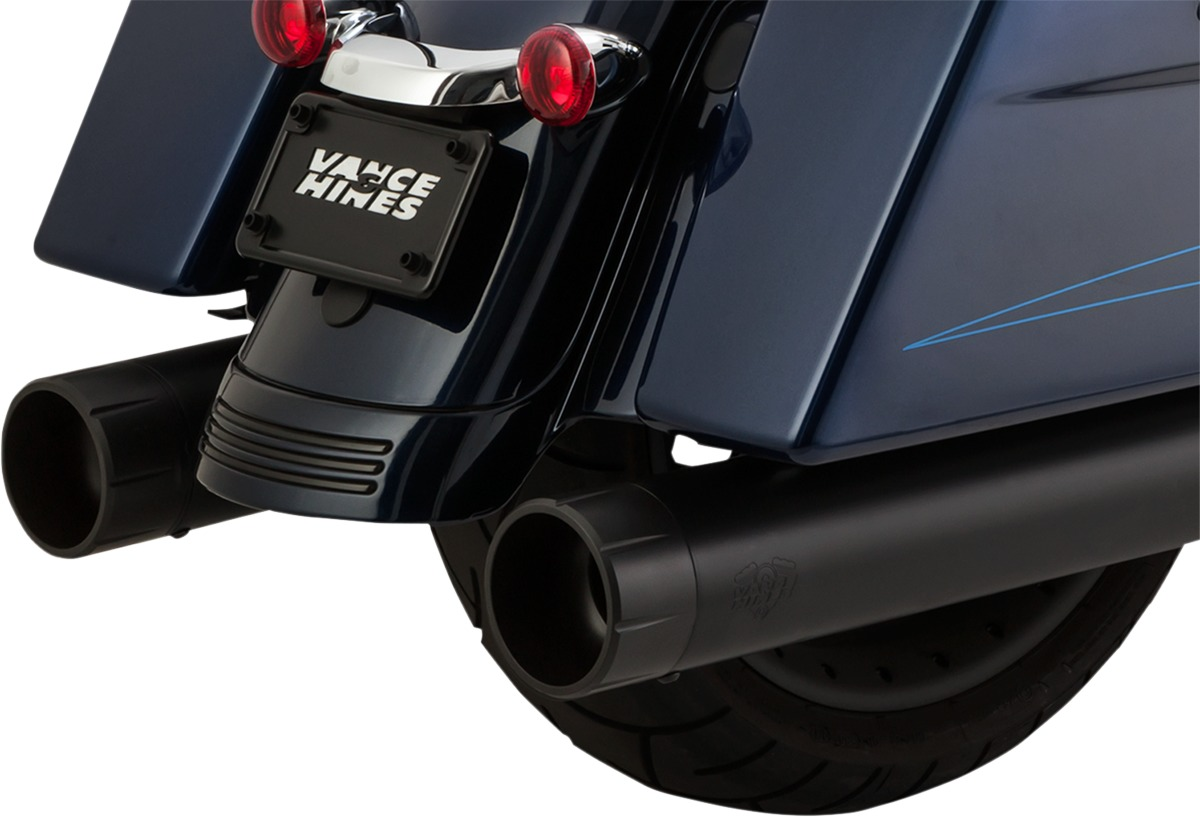 Oversized 450 Raider Black Dual Slip On Exhaust - Harley Touring M8 - Click Image to Close