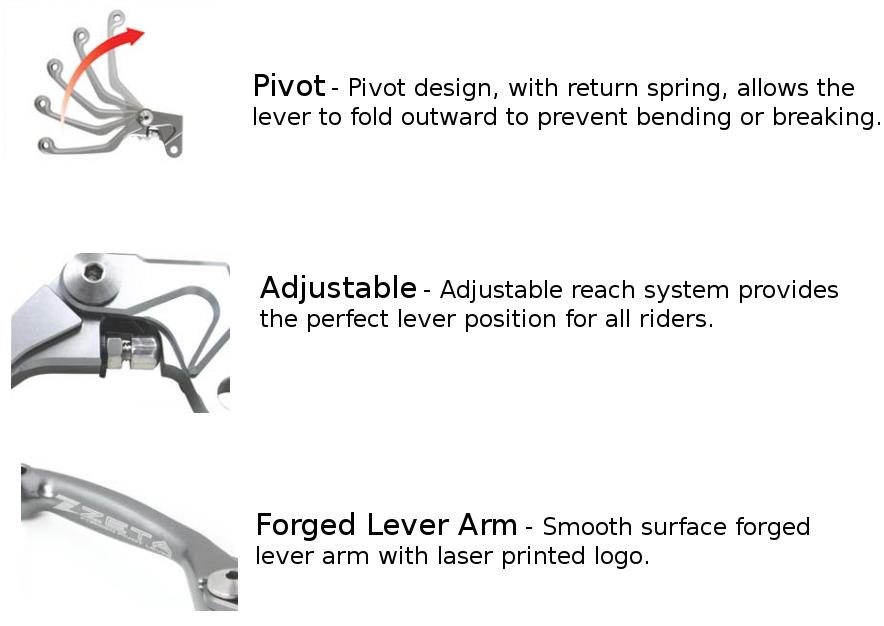 Pivot FP Clutch Lever - 4 Finger Length - KX65/80/85, 90-05 KX125/250,  07-18 RMZ250/450