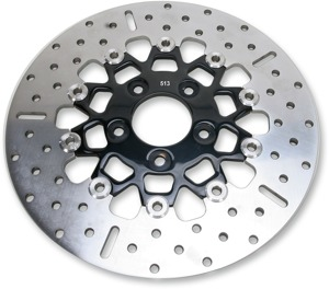 10-Button Black Carrier Floating Rear Brake Rotor - Harley Davidson