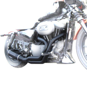 Bobcat Black/Satin Black Full Exhaust - Harley Sportster