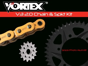 V3 Chain & Sprocket Kit Gold RX Chain 520 15/45 Hardcoat Aluminum - For 93-99 Honda CBR900RR