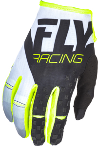Kinetic MX Riding Gloves Black/White/Hi-Vis Sz 9