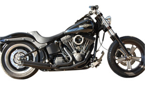 Black Low Cat 2-1 Exhaust Perf. Wrap Baffle - 84-17 Harley Softail