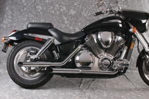 Slash Cut Staggered Chrome Full Exhaust - 02-07 Honda VTX1800C