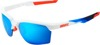 Sportcoupe Sunglasses White/Red/Blue w/ Blue Mirror Lens