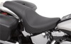 Predator Smooth 2-Up Seat Black - For 00-17 Harley Softail