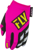 Kinetic Women's MX Riding Gloves Neon Pink/Hi-Vis Youth Large