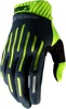 Ridefit Motocross Gloves - Charcoal & Fluorescent Yellow Short Cuff Small