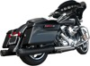 GP Black Dual Slip-On Exhaust - For 17-19 H-D FLH FLT