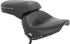 1PC Touring Concho Studded Vinyl 2-Up Seat Black - For 98-13 Yamaha XVS650 V-Star