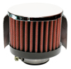 "Engine Breather Filter - PCV; 1-1/2""ID FLG, 3""OD CHROME TOP W/SHIELD"
