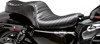Cherokee Pleated Vinyl 2-Up Seat Black - For Harley XL Sportster