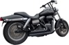Upstarts 2-in-2 Black Full Exhaust - For 06-17 H-D Dyna FXD