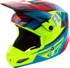 Elite Guild Motorcycle Helmet Red/Blue/Hi-Vis Youth Medium