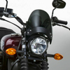 Flyscreen Windscreen Dark Smoke Black Hardware - For Round Headlight Naked Bikes